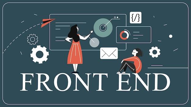 Concepto de banner web de desarrollo frontend. interfaz del sitio web