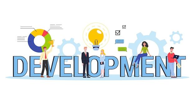 Concepto de banner web de desarrollo. idea de negocio