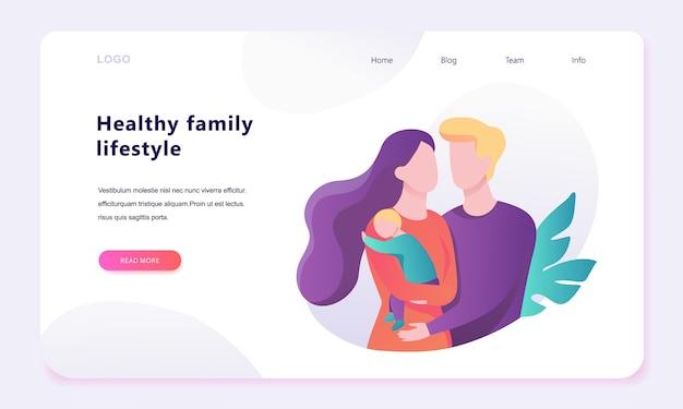 Concepto de banner web familiar. padre feliz