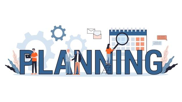 Concepto de banner web de planificación. idea de plan de negocios y estrategia. establecer una meta u objetivo y seguir el cronograma. ilustración
