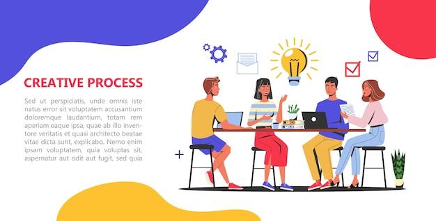 Concepto de banner web de proceso creativo. equipo de negocios