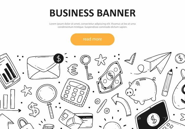 Concepto de banner web sobre el tema de los negocios y las finanzas con diferentes elementos lindos del doodle