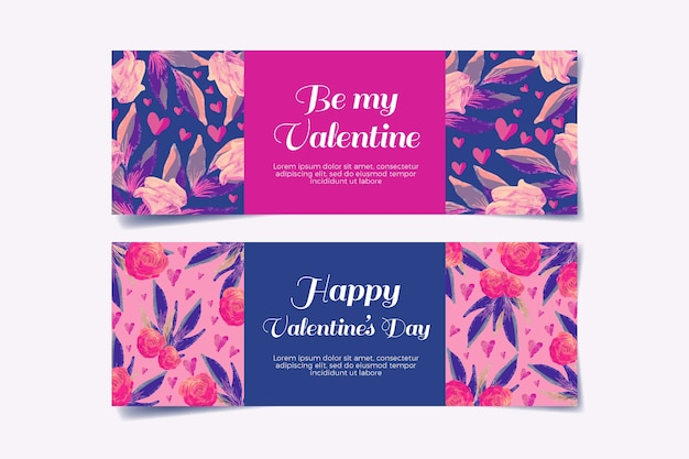 Concepto de banners de acuarela día de san valentín