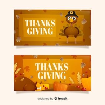 Concepto de banners del día de acción de gracias para plantilla