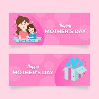 Concepto de banners del día de las madres de diseño plano