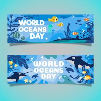 Concepto de banners del día mundial de los océanos