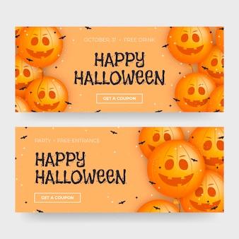 Concepto de banners de halloween feliz