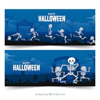 Concepto de banners modernos de feliz halloween