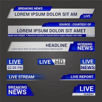 Concepto de banners de noticias de transmisión en vivo