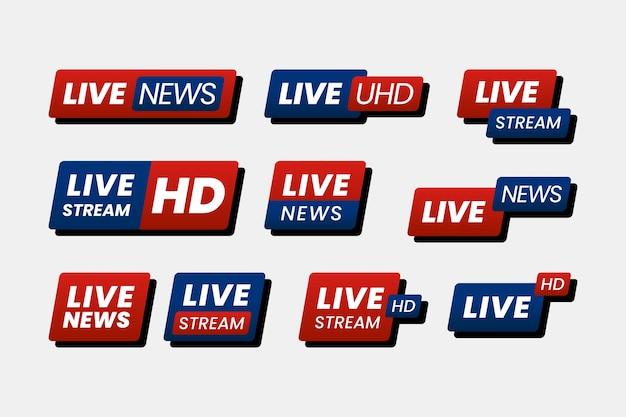 Concepto de banners de noticias de transmisiones en vivo
