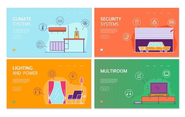 Concepto de banners planos de casa inteligente 4 con internet de sistemas de seguridad climática con iluminación controlada