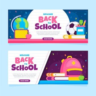 Concepto de banners de regreso a la escuela plana