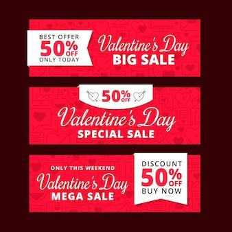 Concepto de banners de venta de día de san valentín plana