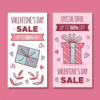 Concepto de banners de venta de día de san valentín