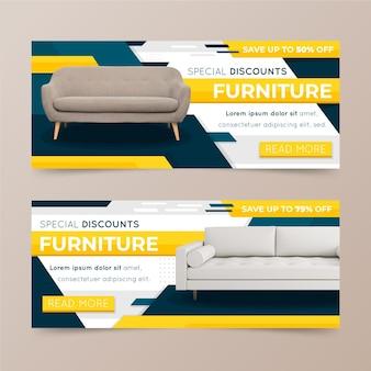 Concepto de banners de venta de muebles