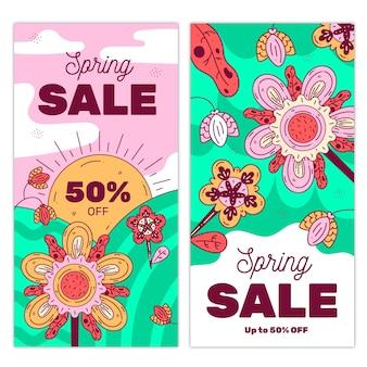 Concepto de banners de venta de primavera de diseño plano