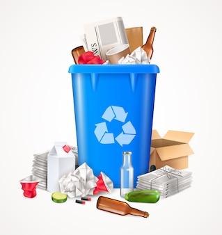 Concepto de basura y residuos con vidrio y papel de alimentos realistas