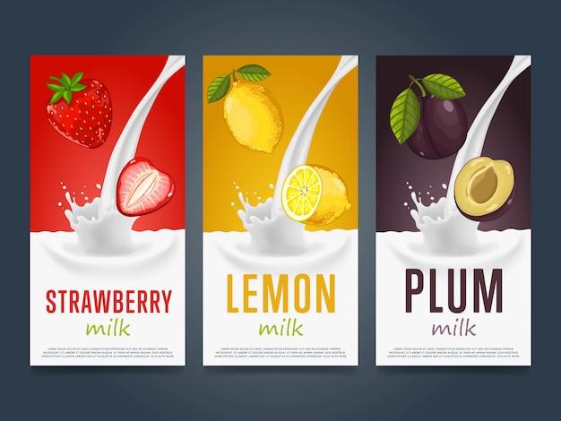Concepto de batido con salpicaduras de leche y fruta