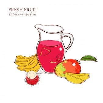 Concepto de bebida fresca de color sketch