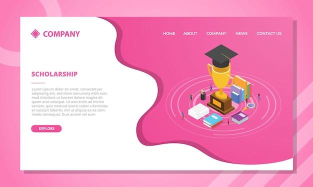 Concepto de beca para plantilla de sitio web o diseño de página de inicio de aterrizaje con ilustración de vector de estilo isométrico