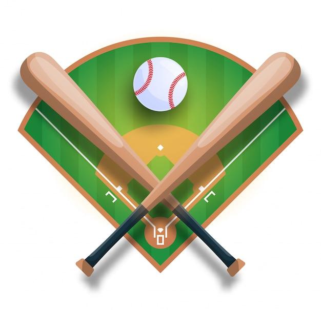 Concepto de béisbol realista con bate de béisbol cruzado, pelota y archivado. ilustración de deporte