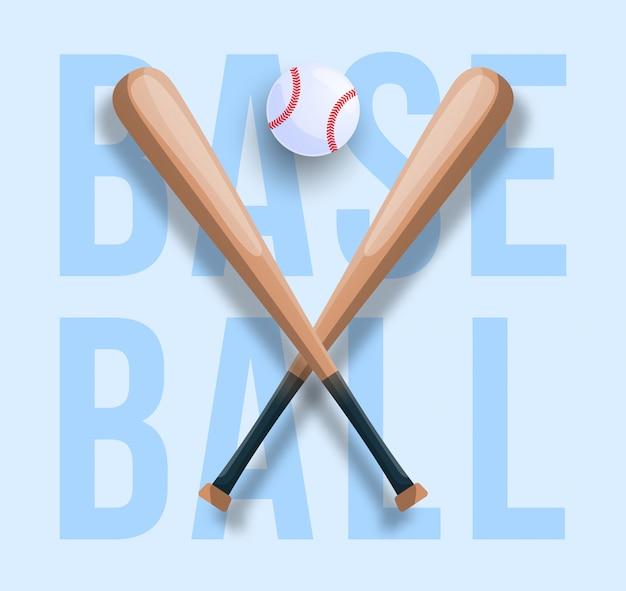 Concepto de béisbol realista con bate de béisbol cruzado, pelota y texto. ilustración de deporte