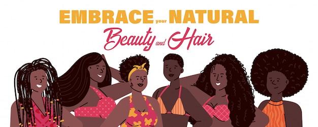 Concepto de belleza natural con ilustración de dibujos animados de mujeres africanas.