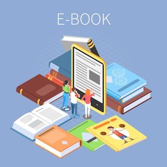 Concepto de biblioteca con lectura en línea y símbolos de libros electrónicos isométricos