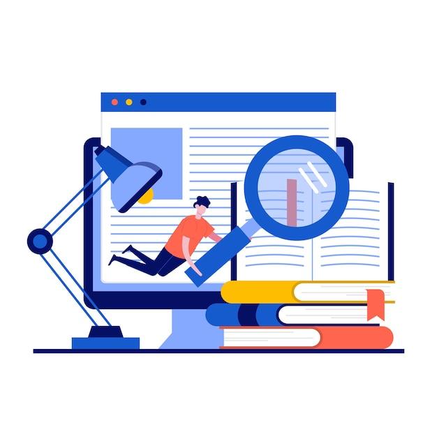 Concepto de biblioteca de libros multimedia con carácter. personas que leen un libro electrónico para estudiar en la biblioteca electrónica en la escuela.