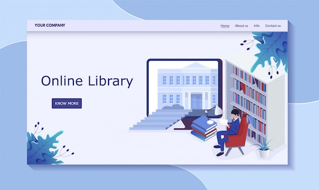 Concepto de biblioteca en línea, hombre en depósito de libros, libro de lectura, ilustración. contáctenos, información, sobre nosotros, inicio, más botón.