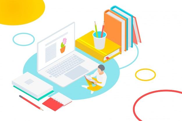 Concepto de biblioteca en línea de libro de medios. e-book, e-learning en línea, universidad en línea, ilustración isométrica del conocimiento.