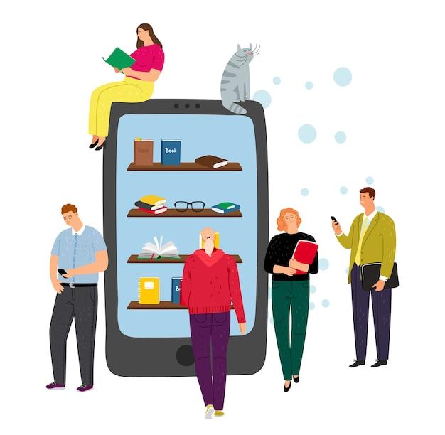 Concepto de biblioteca en línea. teléfono, aplicación de lectura electrónica y personajes de personas diminutas. niño y niña de dibujos animados con libros, ilustración vectorial