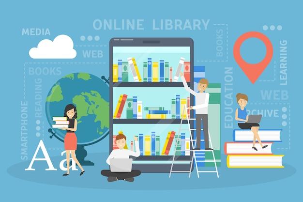 Concepto de biblioteca en línea. usar el teléfono móvil para el aprendizaje y la educación. la gente lee libros digitales en sus teléfonos inteligentes. ilustración