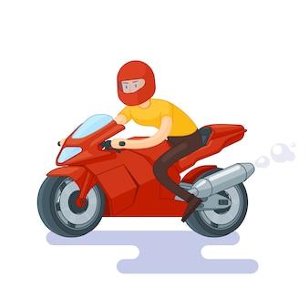 Concepto de bicicleta deportiva roja plana