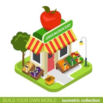 Concepto de bienes raíces de construcción de frutas y verduras veganas de abarrotes de comestibles.