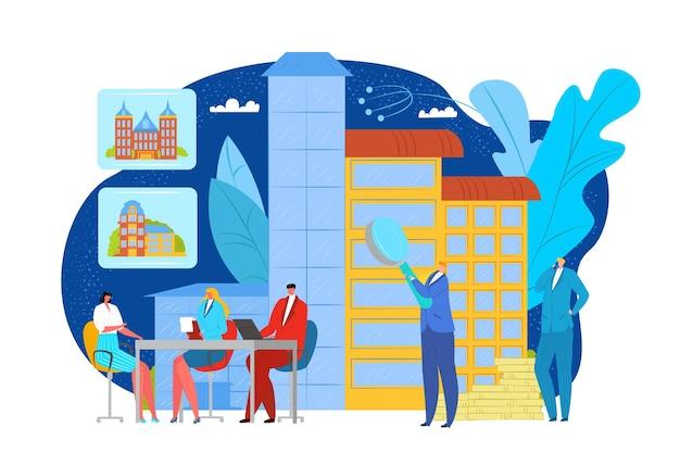 Concepto de bienes raíces, ilustración vectorial. el personaje de la persona hace una inversión en la construcción, el corredor de apartamentos y el agente de dibujos animados. alquiler, venta de propiedad