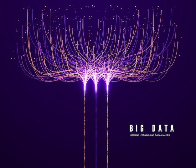 Concepto de big data. aprendizaje automático y análisis de datos. visualización de tecnología digital. información de procesamiento y flujo de datos de líneas de conexión y puntos.