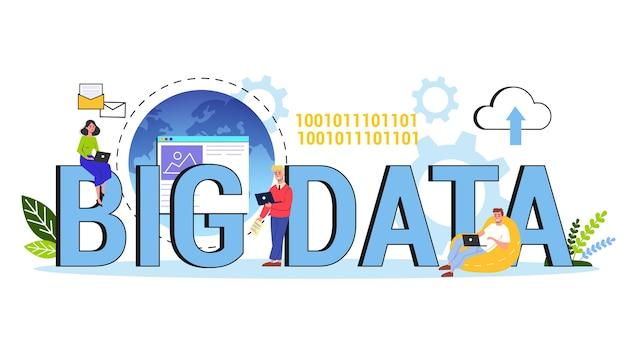 Concepto de big data. tecnología informática moderna. analizando