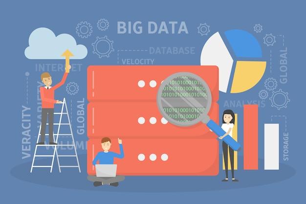 Concepto de big data. tecnología informática moderna. analizar información digital de internet y tomar mejores decisiones comerciales. ilustración