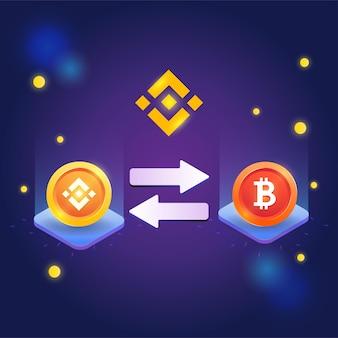 Concepto de binance, plataforma de intercambio criptográfico, token de binance con token de bitcoin