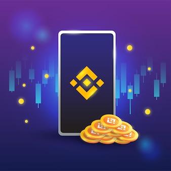 Concepto de binance, plataforma de intercambio crypto, token con teléfono