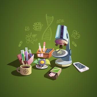 Concepto de biología con iconos de dibujos animados de ciencia retro