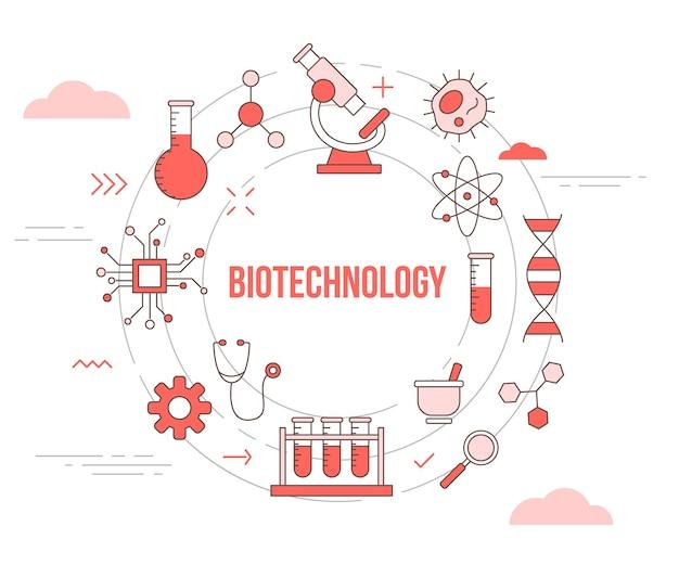 Concepto de biotecnología con banner de plantilla de conjunto de iconos