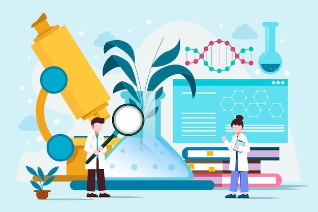 Concepto de biotecnología de diseño plano ilustrado.