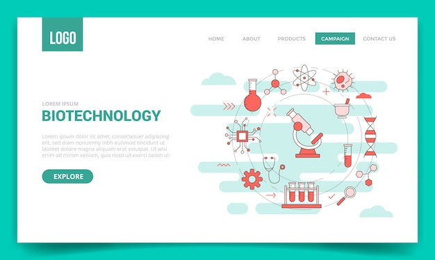 Concepto de biotecnología con icono de círculo