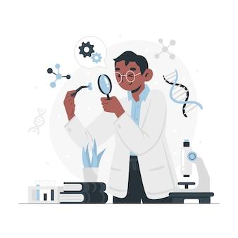 Concepto de biotecnología de ilustración plana