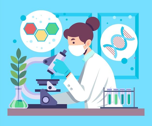 Concepto de biotecnología con investigadora.