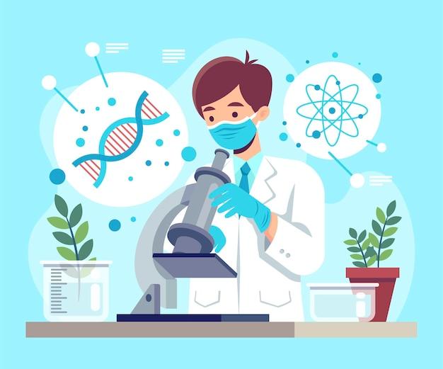 Concepto de biotecnología plana con científico.