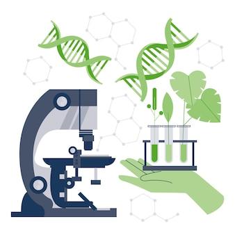 Concepto de biotecnología plano ilustrado.