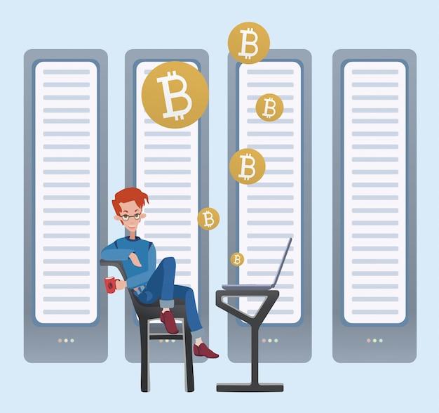 Concepto de bitcoin de minería. hombre joven sentado en la computadora en la sala de servidores. granja minera de criptomonedas. ilustración.